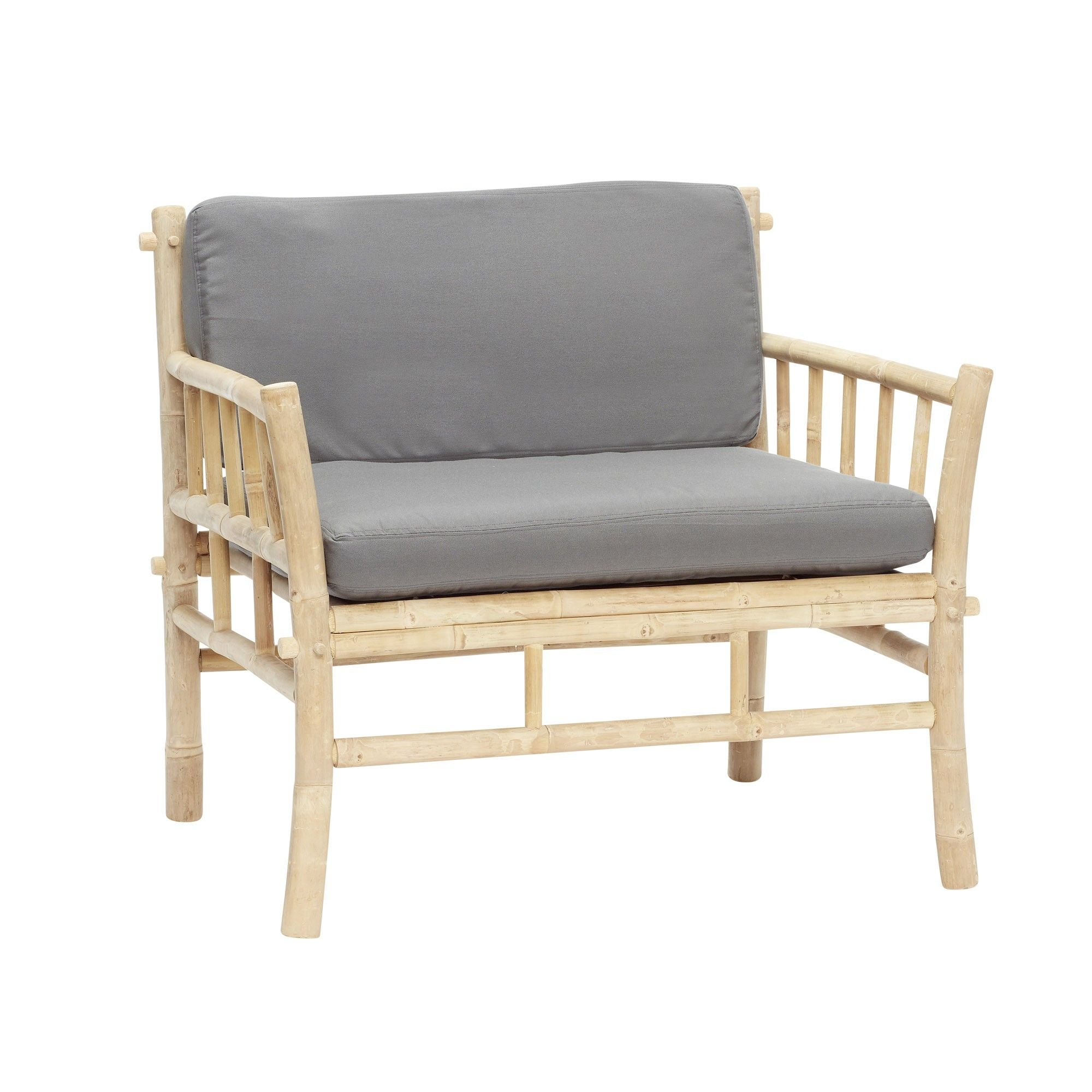 fauteuil bambou naturelgris hubsch - Fauteuil Bambou