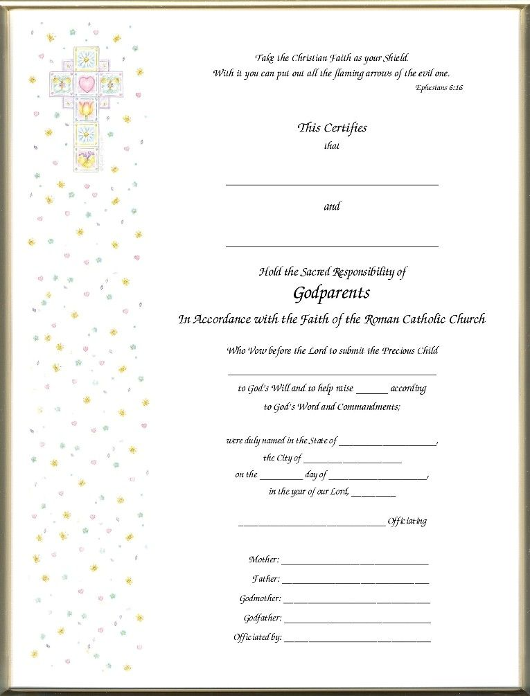 Christening Certificates For Godparents Printed Imaged