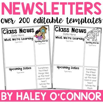 Classroom Newsletters {Completely Editable} Class newsletter