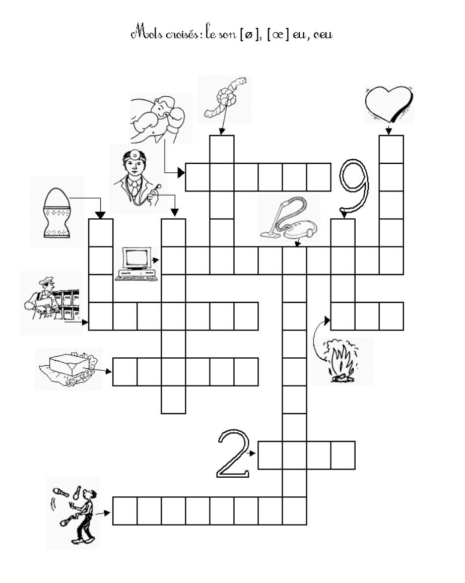 Mots Croises Avec Le Son Eu Et Oeu Mots Croises Exercice Ce1 Jeux Alphabet