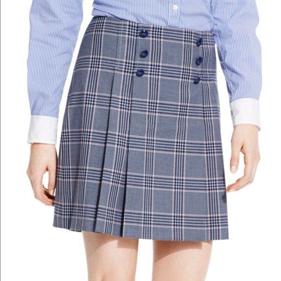 Tommy Hilfiger skirt Beautiful blue plaid pleated skirt. Runs bigs. NWT Tommy Hilfiger Skirts