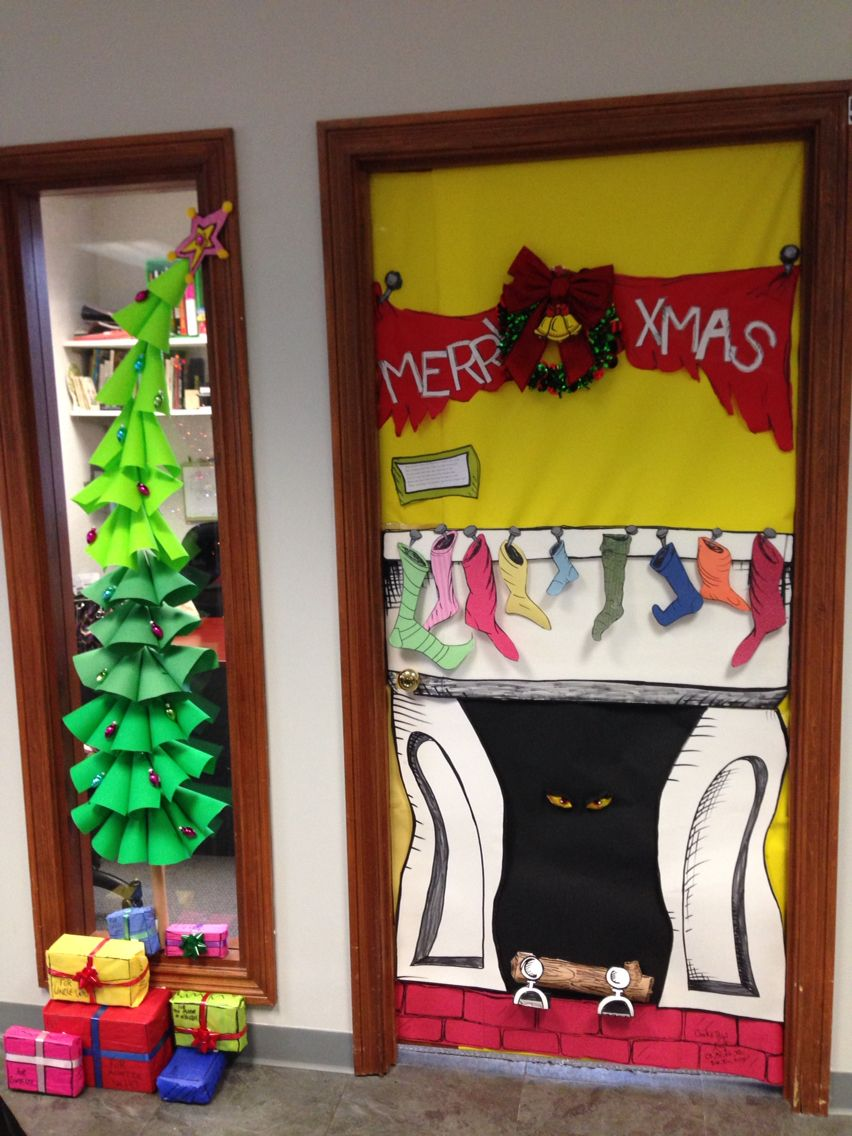 Grinch In The Fireplace Door Christmas Pinterest Grinch