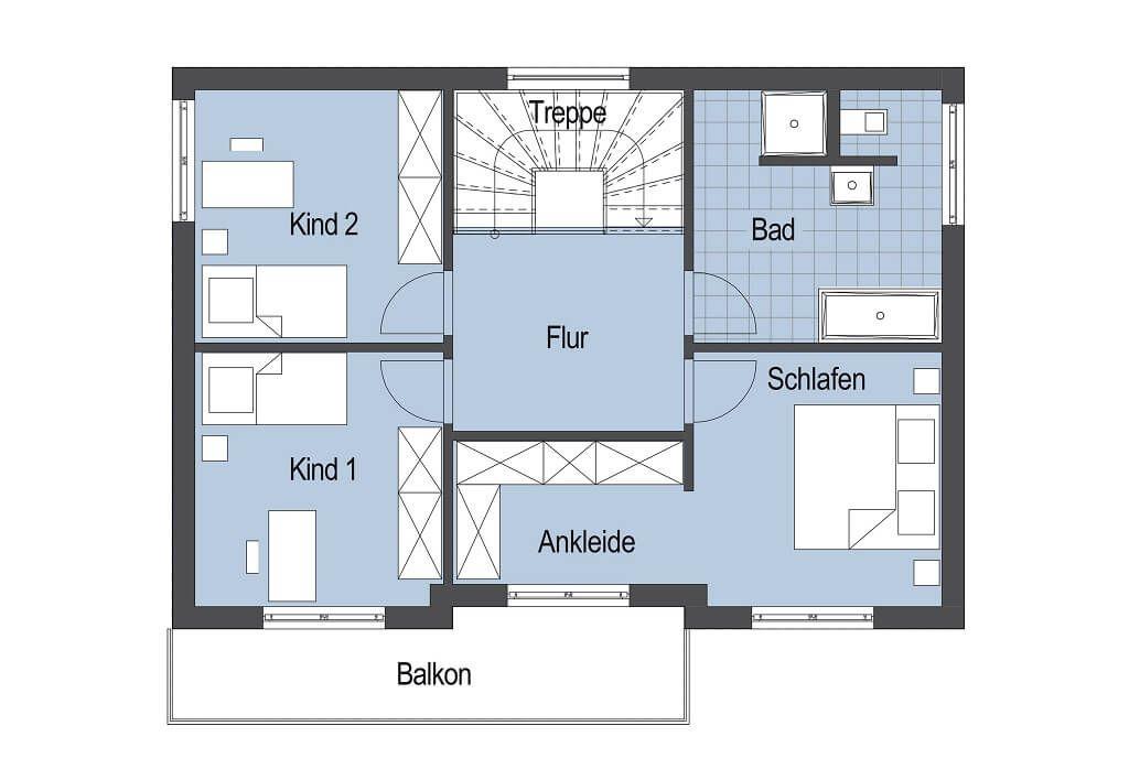 Moderne stadtvilla grundriss obergeschoss for Modernes einfamilienhaus grundriss