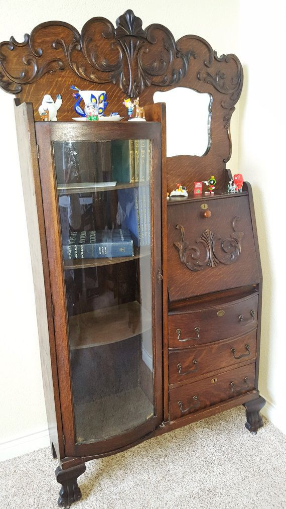 Antique Wooden Writer S Desk Curio Cabinet 1920 S To