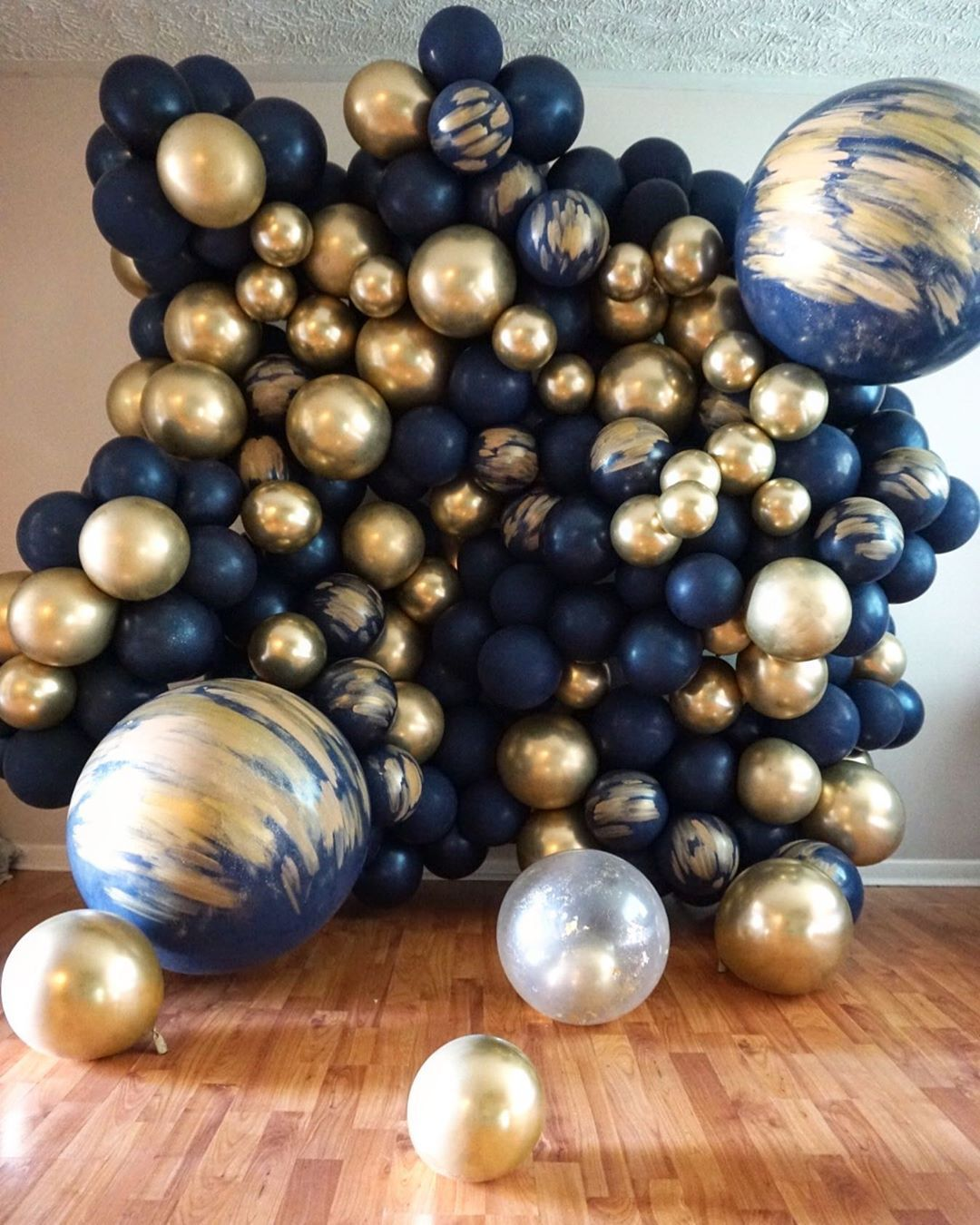 Balloons By B On Instagram Balloon Wall Custom Hand Painted That Bougie Gold Make Em S Blue Party Decorations Gold Balloons Decorations Balloon Wall