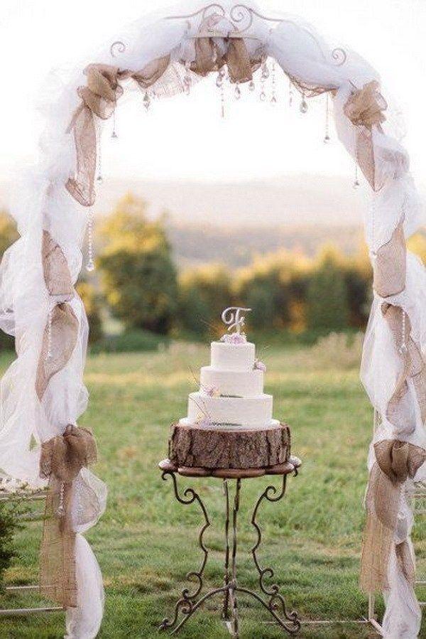 20 beautiful wedding arch decoration ideas burlap arch and decoration rustic burlap and lace wedding arch what a beautiful wedding arch decoration idea love junglespirit Gallery