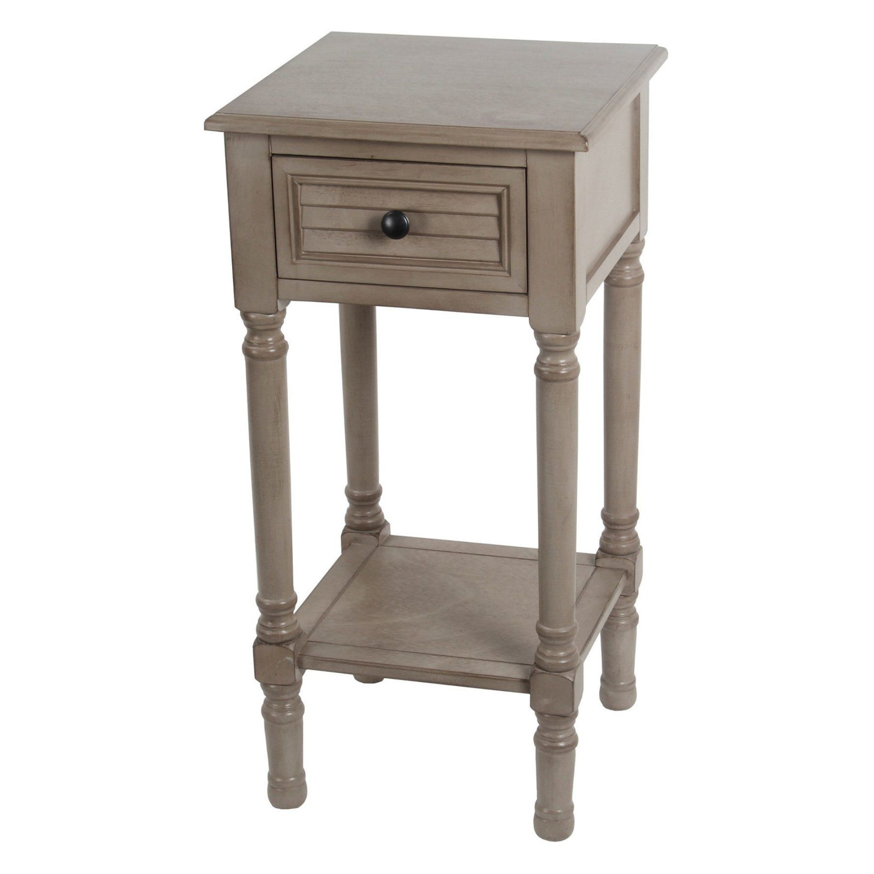 Privilege International Shuttered Table With Drawer French Grey