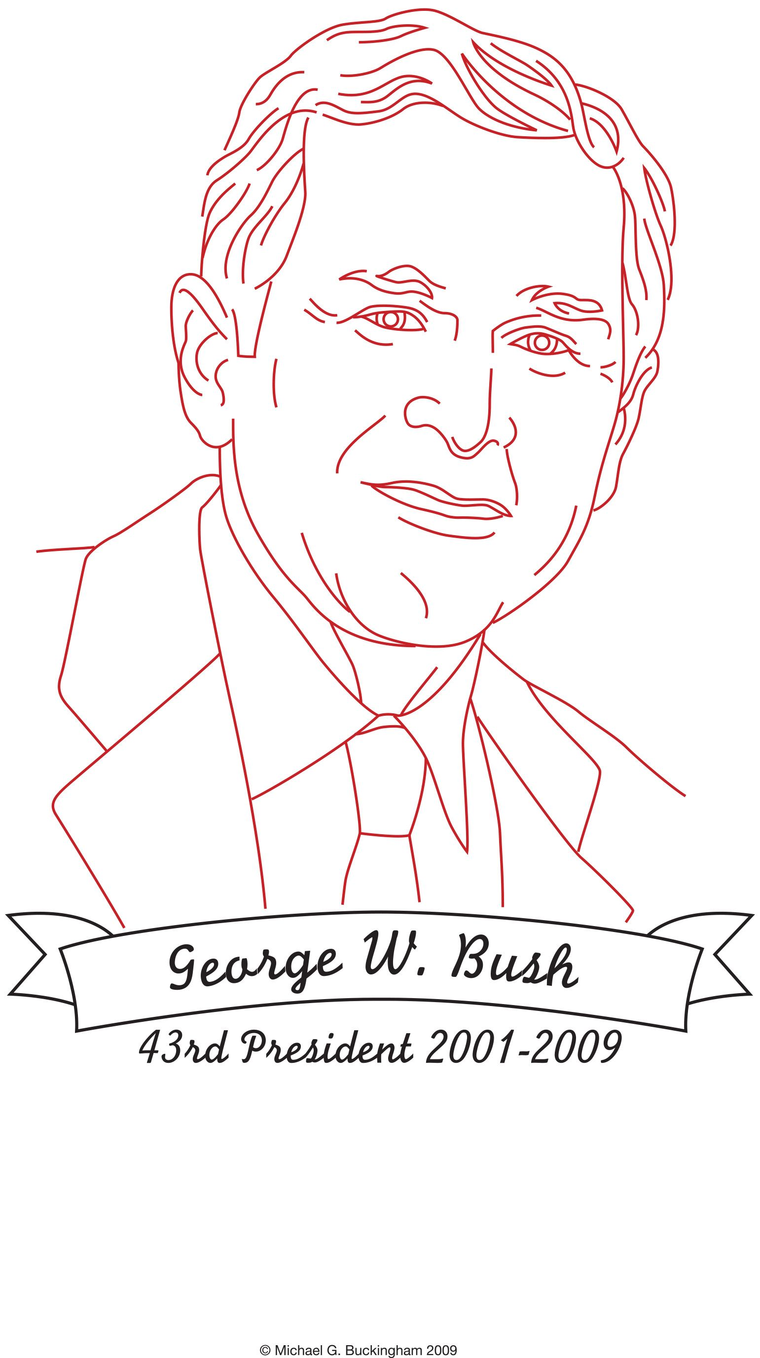 Free Pattern Presidential Redwork Design George W Bush