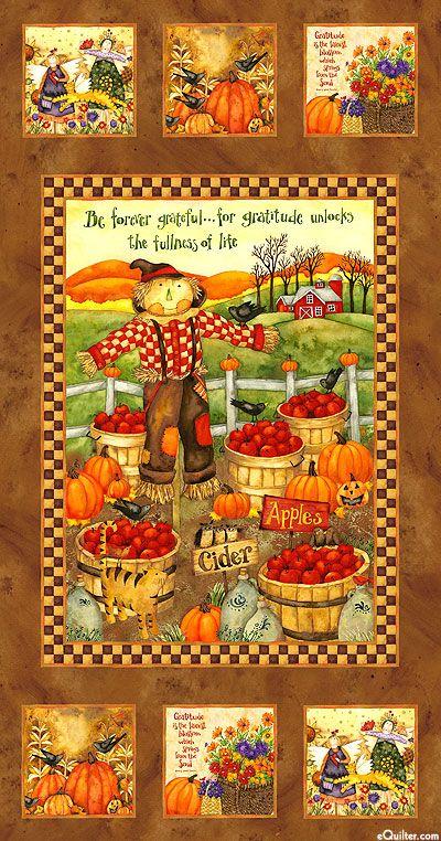 Autumn Time Fabric Panel Autumn Flowers Pumpkins Quilt Shop Quality