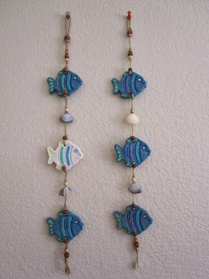 Salt Dough Wall Hangings, Fish with Shells - #Dough #Fish #Hangings #Salt #saltdough #Shells #Wall #saltdoughornaments