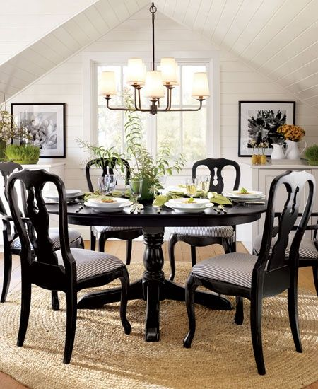 Black Painted Queen Anne Chairs Pottery Barn Dining Room Black Dining Room Dining Room Furniture Pottery Barn Dining Room