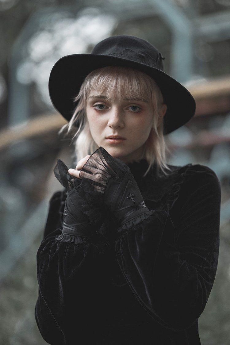 Abstinence Crossover Strap Fingerless Gloves - XL / Black