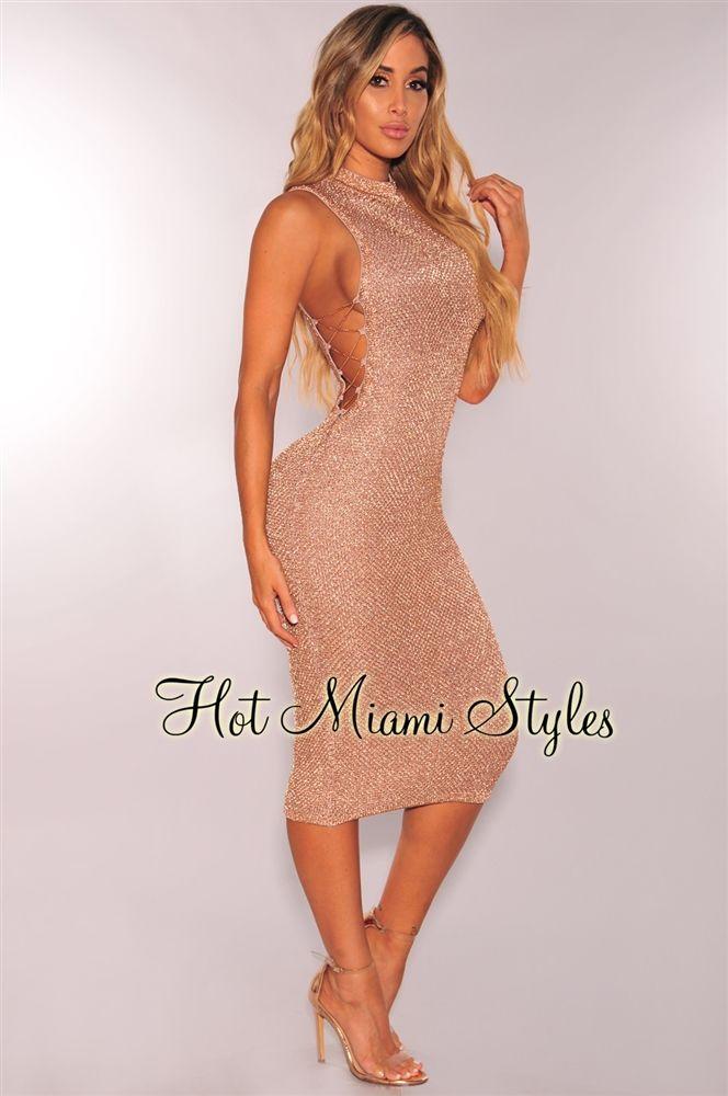 11cb02bab3533 Rose Gold Metallic Knit Lace Up Midi Dress in 2019 | Ana's dresses ...