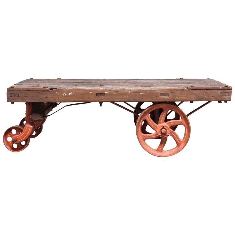 Industrial Factory Rolling Cart With Iron Wheels Industrial Factory How To Antique Wood Rolling Cart