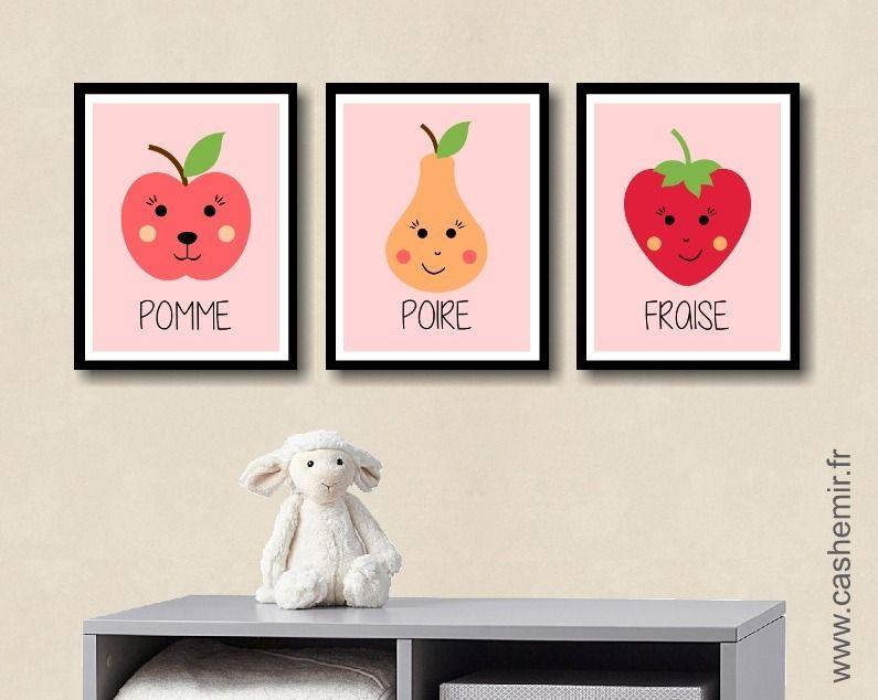 Affiche pour enfant fille illustration poster pour chambre d'enfant décoration murale cadeau fruit kawaii n5 : Décoration pour enfants par cashemir