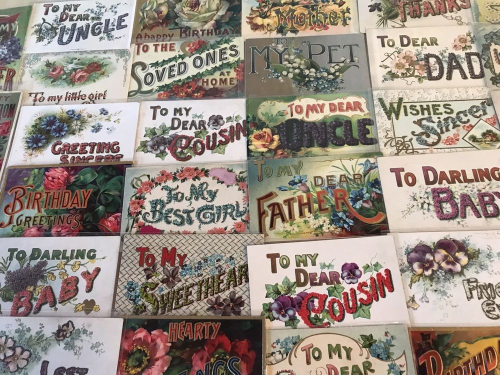 Letter Greetings New Huge Estate Lot Of 62 Family Greetingslarge Letter Words Antique .