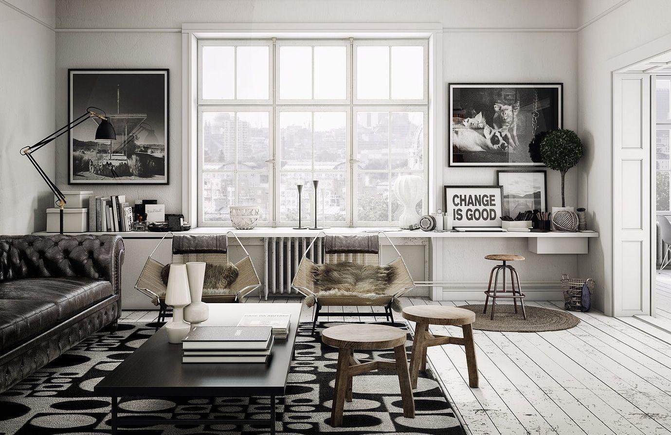 loft living room design with some industrial scandi and boho design ...
