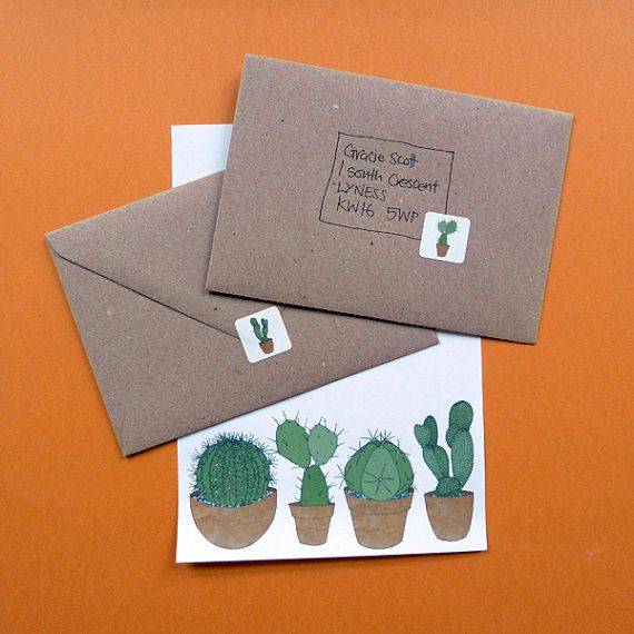 Cacti Writing Set Cactus Stationery Pack Cactus Stickers Recycled