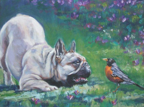 French Bulldog art print CANVAS print of LA Shepard by TheDogLover, $39.99