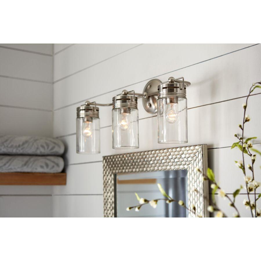Allen Roth Vallymede 3 Light Nickel Transitional Vanity Light Lowes Com Finished Bathrooms Farmhouse Vanity Lights Vanity Lighting