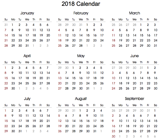 printable 2018 calendar in word