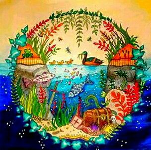 Enchanted Forest Coloring Book Adult Pages Books Colour Inspiration Secret Gardens Forests Aquarium Drawing