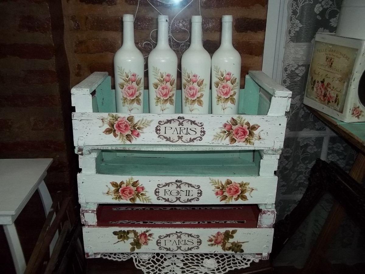 Cajones shabby chic antiguos intervenidos decape vintage - Cajones de madera para frutas ...