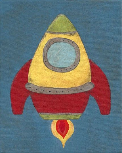 NEW - Rocket - PRINT - 8x10 - space ship outer space art for children nursery decor - kids - baby - children. $10.80, via Etsy.