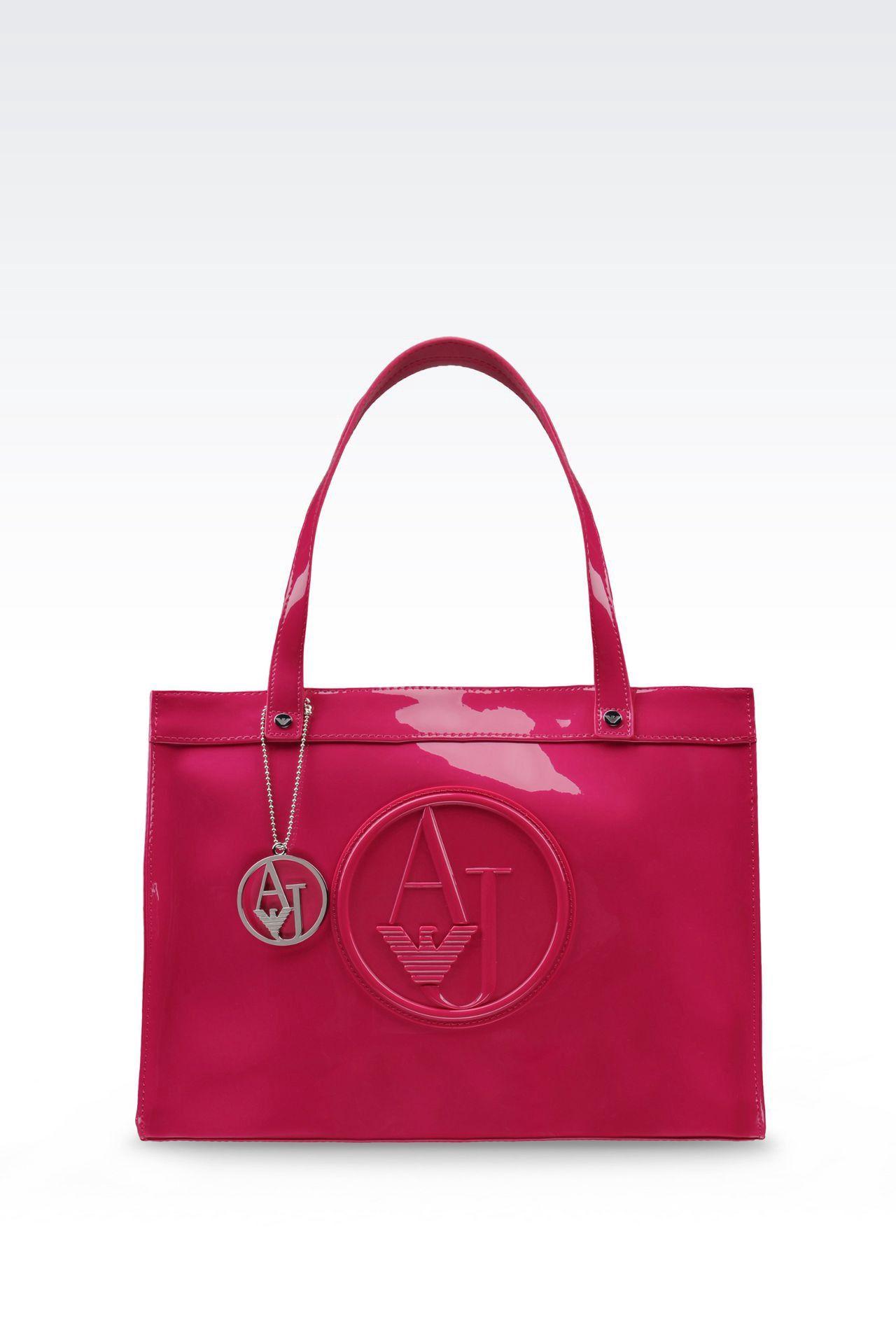 ARMANI COLLEZIONI SHOPPING BAG IN PATENT FAUX LEATHER WITH PENDANT.   armanicollezioni  bags  patent  hand bags  pvc   7f2025f09fdce