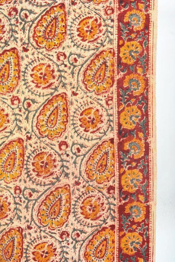 4x6 Hand Block Paislay Print Boho Rustic Area Rug Bohemian Decor Floor Rugs Traditional Handmad Bohemian Area Rugs Rustic Area Rugs Area Rugs