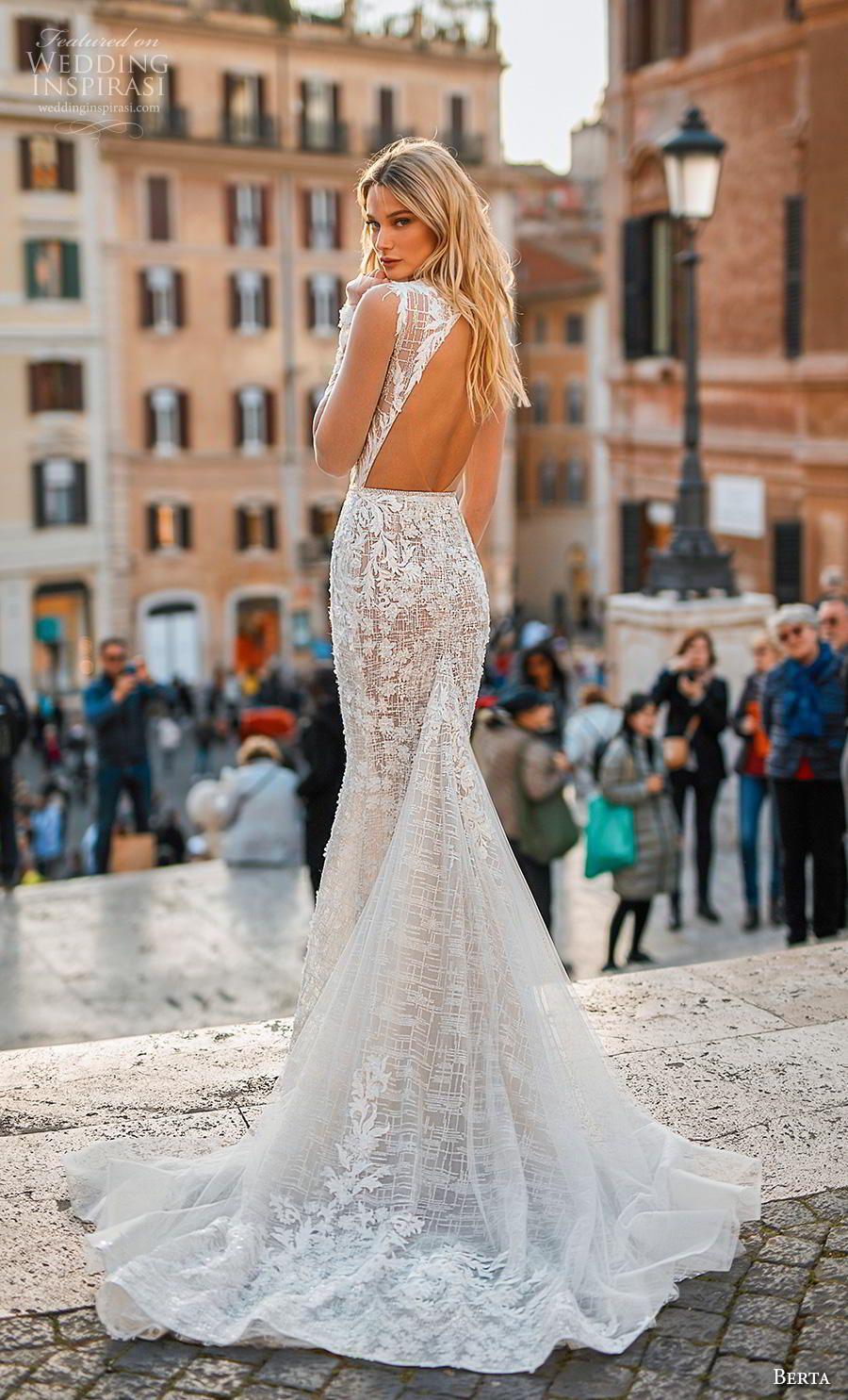 234f74c44faf Weddinginspirasi.com featuring - berta 2020 privee bridal long sheer sleeves  deep v neck full