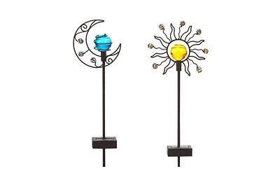 Outdoor Yard Art Decor Weather Resistant Metal Solar Sun & Moon Garden Stake Set