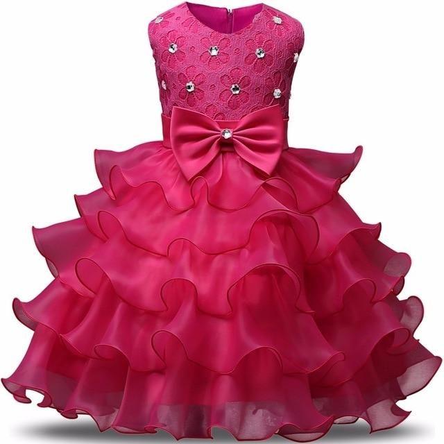 Kids Dresses For Girls Summer Ball Gown Party Evening Children Costume Bow  Princess Birthday Communion Dresse 2-6 Years Vestidos 0901c79e55dc