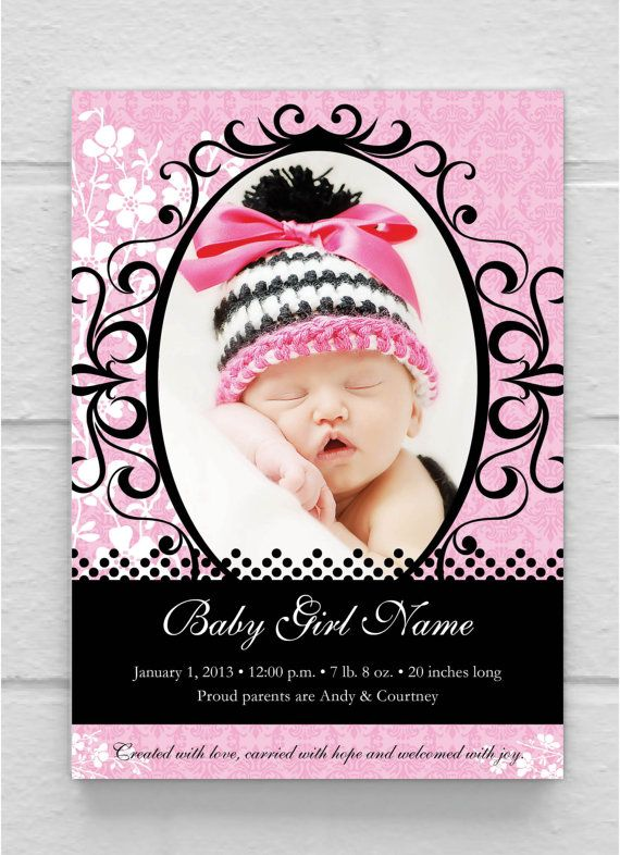 Printable Pink Black Frame Photo Baby By Simplysaidbycourtney