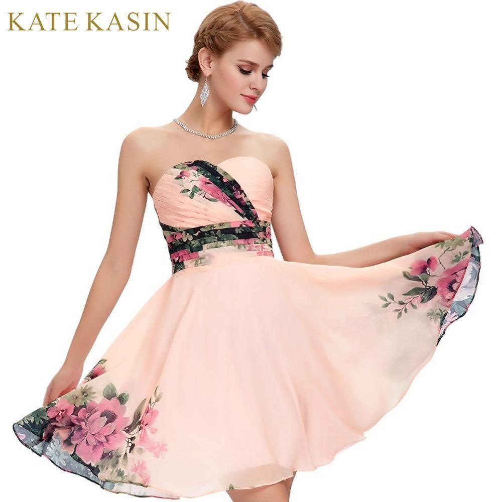 Nice Great Flower Print Short Prom Dresses 2017 Chiffon Knee Length ...