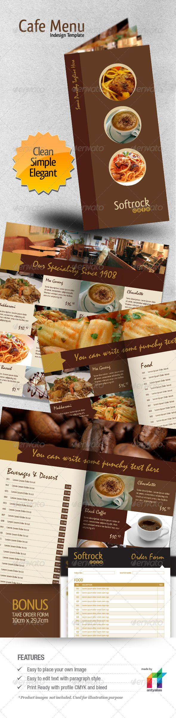 Cafe Menu Indesign Template lunch cafe menu yellow 14x29 – Lunch Menu Template