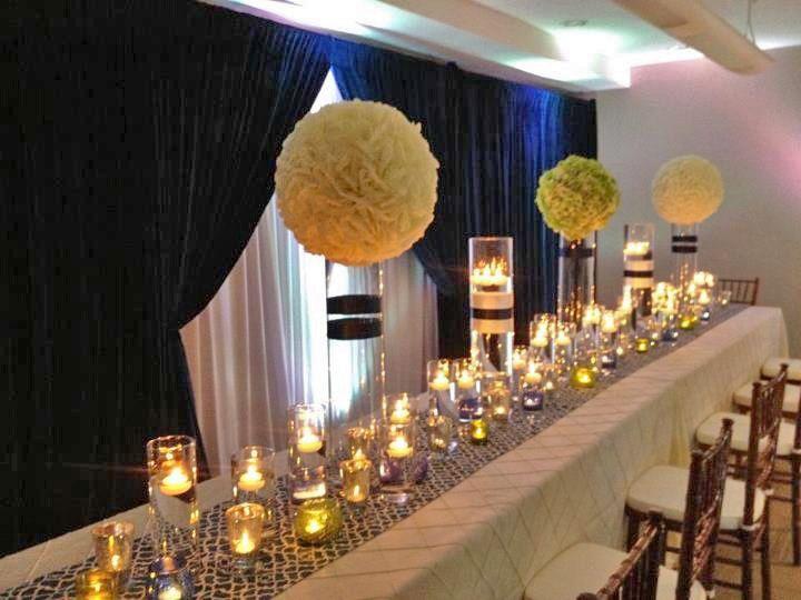 Navy Blue Lime Green Wedding Decor Tablescape