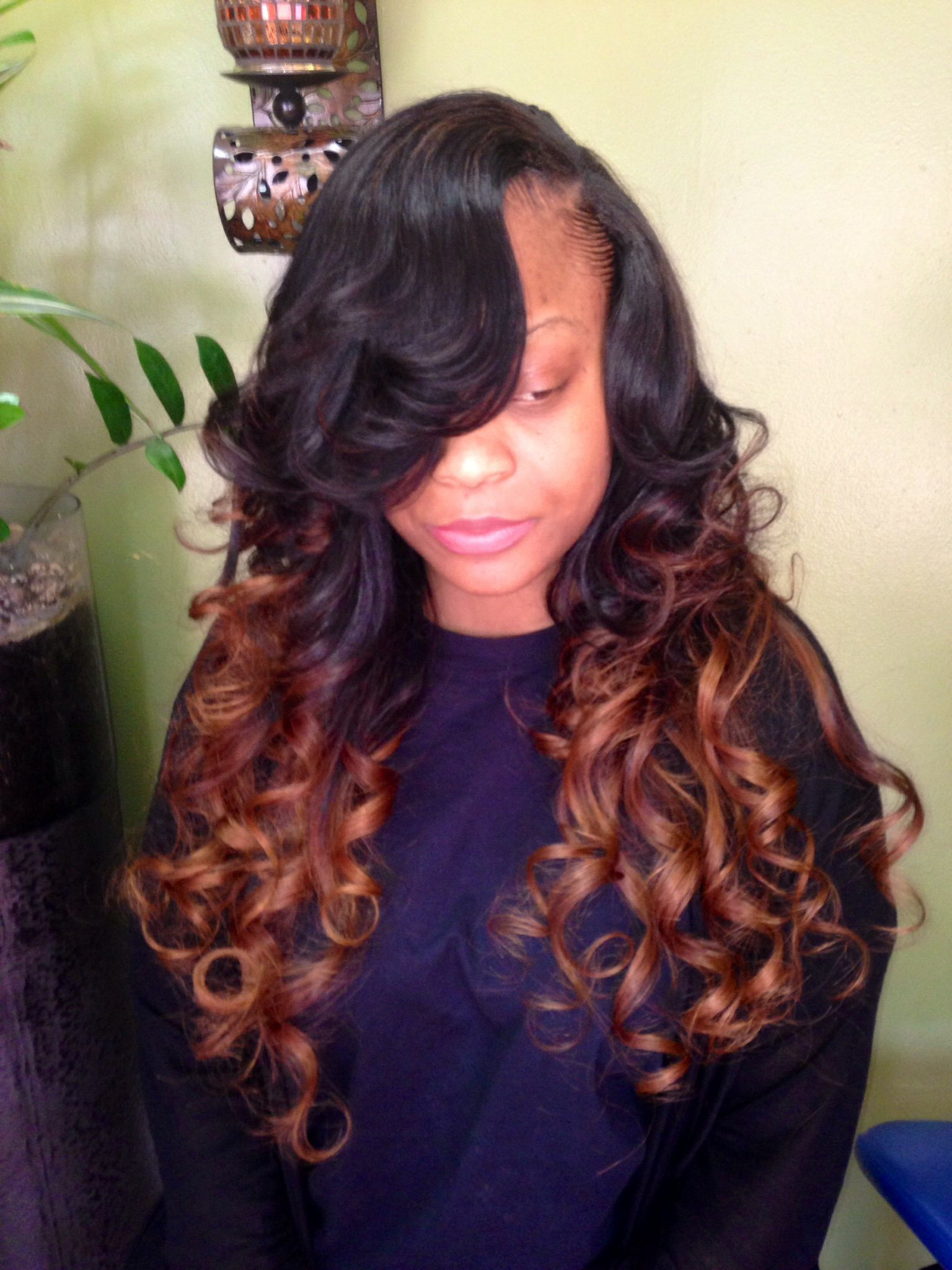 Ombré weave with side part | Front hair styles, Hair beauty:__cat__, Edgy hair