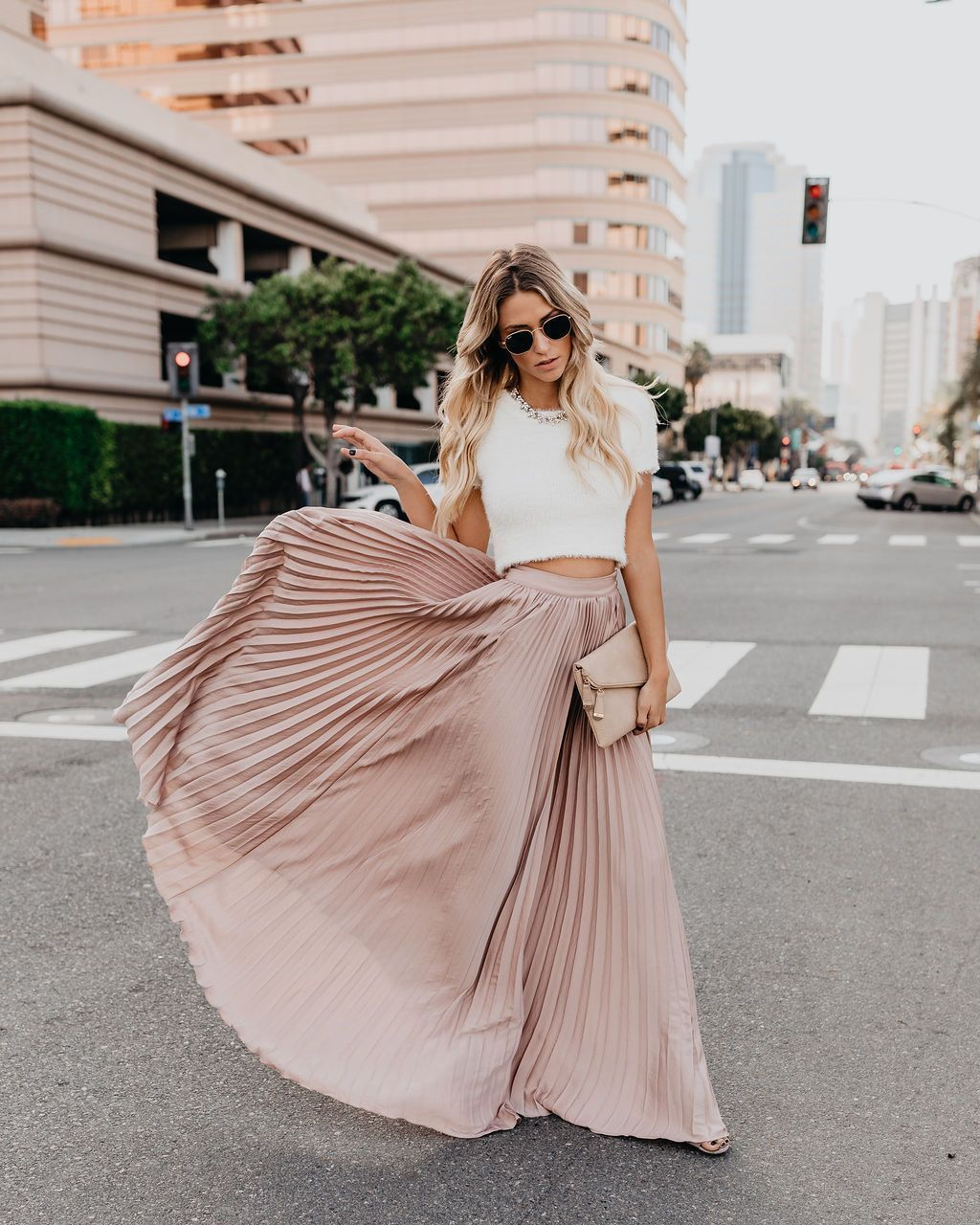 Solid Color High Waist Pleated Long Maxi Skirt | Tøj