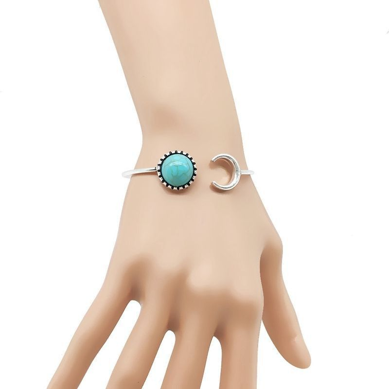 Fashion Beautiful Bohemian Silver Alloy Moon Shape Turquoise Ethnic Boho Gypsy Cuff Bangles MAR 8
