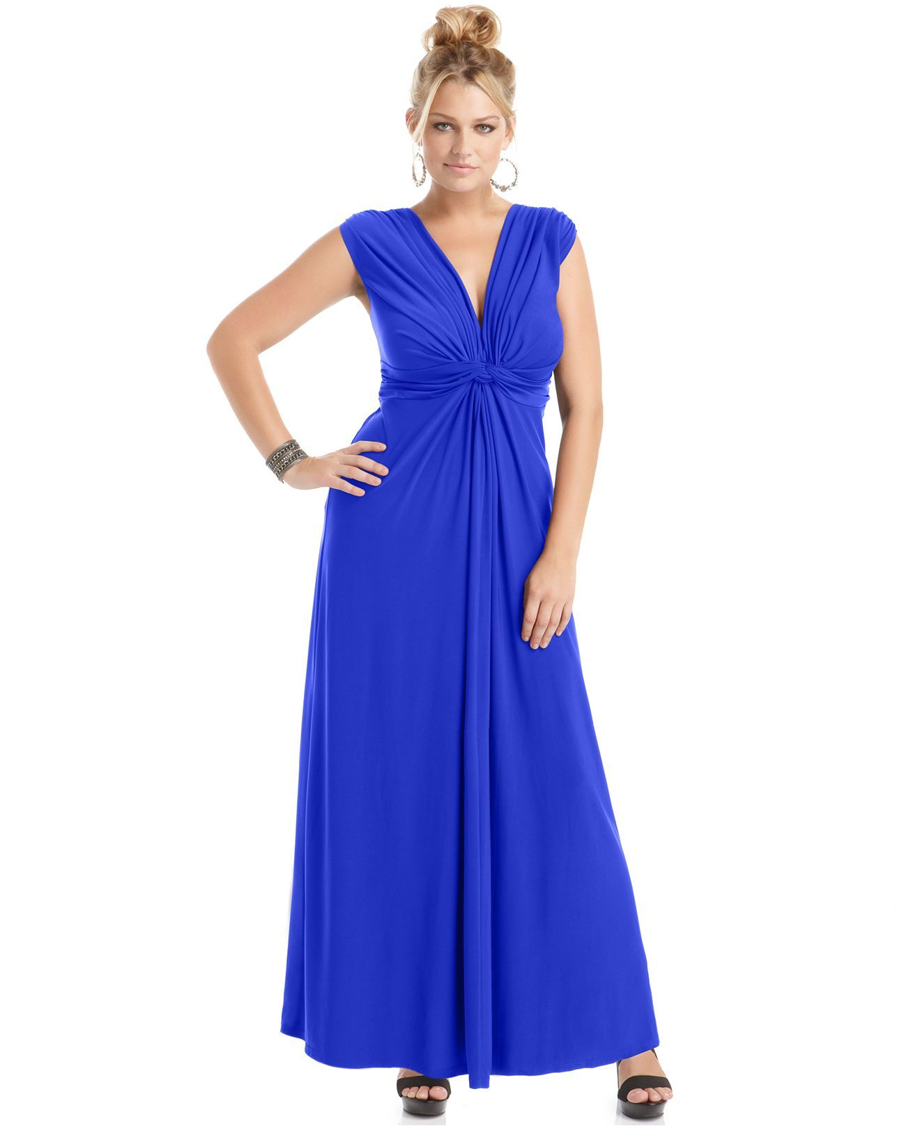 Love squared plus size sleeveless knotted maxi dress plus size