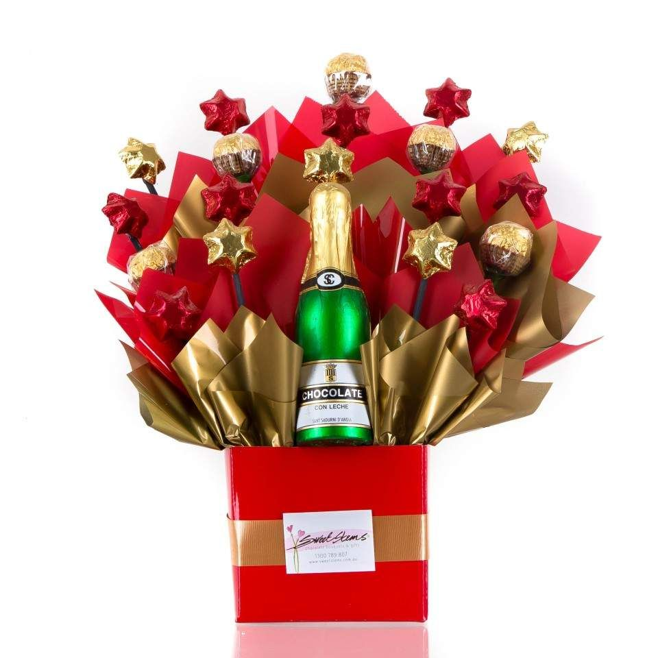 Toast Life And Your Good Fortune With A Bottle Of Chocolate Bubbly This Champagne Bottle Is In Fact 100 Congratulations Gift Chocolate Bouquet Chocolate Gifts