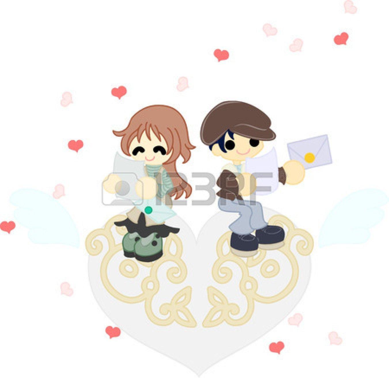 La coppia che legge la lettera che ha cambiato l'altro su un oggetto di arte cuore bianco Archivio Fotografico - 26034777