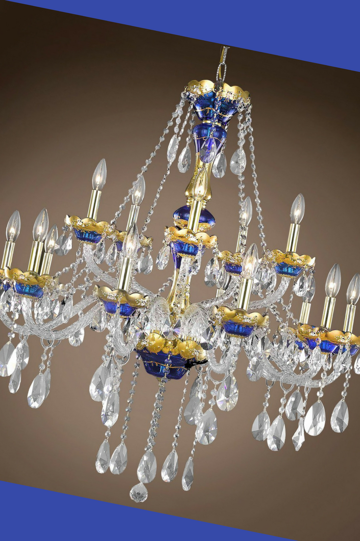 This Beautiful Glass Arm Collection Is Patterned After Classic Designs From The Victorian Era This Blue Chandelier Chandelier Bathroom Light Fixtures Ceiling