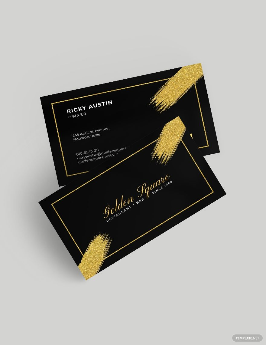 Gold And Black Business Card Template Word Psd Apple Pages Illustrator Publisher Black Business Card Craft Business Cards Business Card Template Word