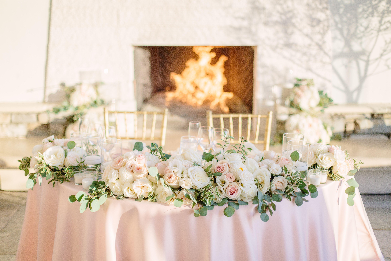 Wedding flowers. Sweetheart table arrangement. Blush ...