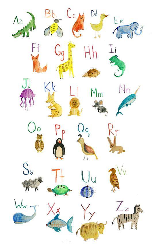 Animal Alphabet Nursery Print Poster