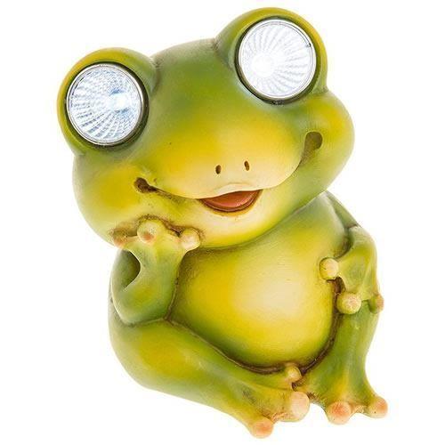 Frog With Solar Eyes Resin Garden Ornament