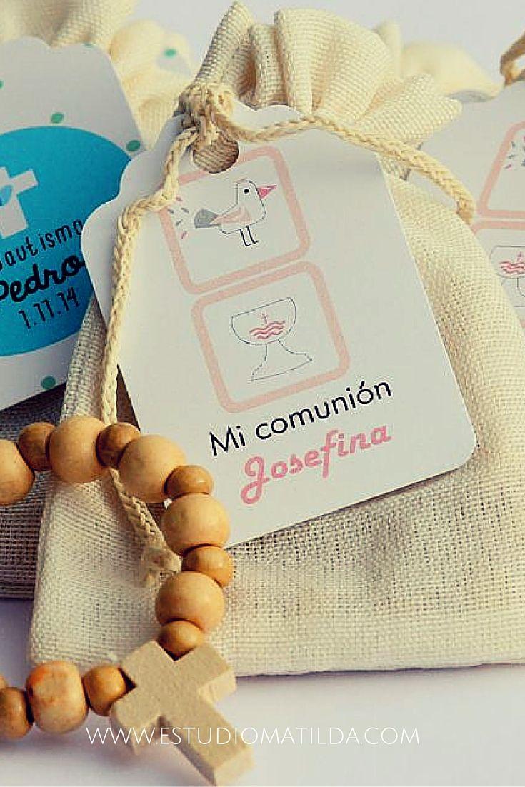 bolsa lienzo con denario #bautismo #souvenir