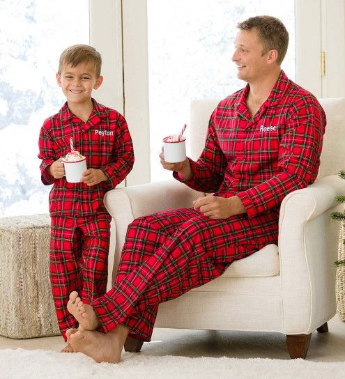 74a38d6494 Personalized Plaid Button-Front Pajama Set | CWDkids #kidsfashion #kidswear  #pajamas #christmas #personalized